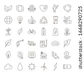 thin line icons set ecology... | Shutterstock .eps vector #1668290725