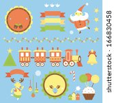colorful icons for christmas | Shutterstock .eps vector #166830458