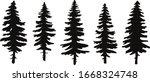 set of vector christmas tree... | Shutterstock .eps vector #1668324748