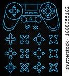 neon game sign set on dark... | Shutterstock .eps vector #1668355162