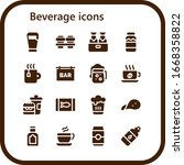 beverage icon set. 16 filled... | Shutterstock .eps vector #1668358822