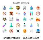 toxic icon set. 30 flat toxic... | Shutterstock .eps vector #1668358825
