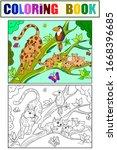 cat family  mom lynx and...   Shutterstock .eps vector #1668396685