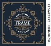 vintage frame template vector... | Shutterstock .eps vector #1668399355