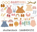 set with baby trendy clothes ... | Shutterstock .eps vector #1668404152