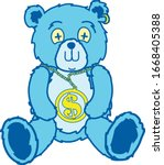 line art bear with a large... | Shutterstock .eps vector #1668405388