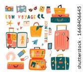 big set of doodle suitcases ...   Shutterstock .eps vector #1668406645