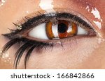 macro photo of woman eye with... | Shutterstock . vector #166842866
