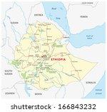ethiopia road map | Shutterstock .eps vector #166843232