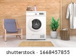 laundry room with wooden wall... | Shutterstock . vector #1668457855