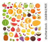half slice cut and whole fruits ... | Shutterstock .eps vector #1668461905