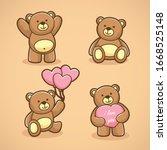 Set Of Funny Cartoon Teddy...