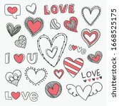 Set Of Hand Drawn Doodle Love...