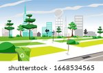 view of the city park in the... | Shutterstock .eps vector #1668534565