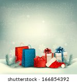 christmas winter landscape... | Shutterstock . vector #166854392
