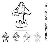 mushroom different shapes icon. ...