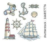 set of vector nautical...   Shutterstock .eps vector #166857776
