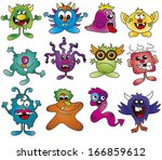 illustration of funny monsters... | Shutterstock . vector #166859612