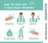 how to take off a face mask... | Shutterstock .eps vector #1668609238