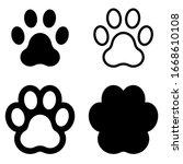 Dog Paw Print Set Vector...