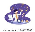vector illustration bitcoin... | Shutterstock .eps vector #1668627088