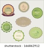 set of fresh organic labels and ... | Shutterstock .eps vector #166862912