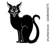 Occult Black Cat With Smile On...