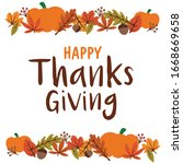 happy thanksgiving lettering... | Shutterstock .eps vector #1668669658