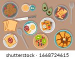 breakfast concept with fresh... | Shutterstock .eps vector #1668724615