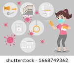 woman wearing a surgical... | Shutterstock .eps vector #1668749362