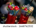 colorful cocktail in glass with ... | Shutterstock . vector #1668762532