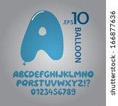 blue balloon alphabet and... | Shutterstock .eps vector #166877636