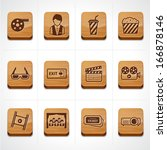 cinema and movie icons set in wood button - stock vector