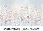 Watercolor Field Grass. Hand...