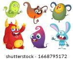 funny cartoon monsters set.... | Shutterstock . vector #1668795172