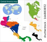map of central america map with ... | Shutterstock .eps vector #166883852