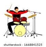 rock and roll drummer vector...   Shutterstock .eps vector #1668841525