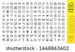 hotel icons set. rental... | Shutterstock .eps vector #1668863602
