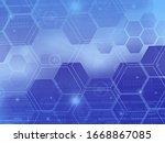 Hexagon Geometry Pattern Blue...
