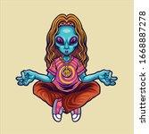 hippie alien yoga character...   Shutterstock .eps vector #1668887278