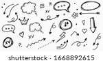 big set of doodle vector arrow  ... | Shutterstock .eps vector #1668892615