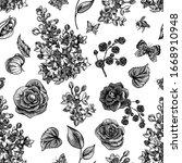 vector monochrome vintage... | Shutterstock .eps vector #1668910948
