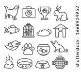 pet shop line icons set on... | Shutterstock .eps vector #1668924952