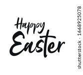 happy easter. calligraphic... | Shutterstock .eps vector #1668925078