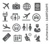 airport icons set on white... | Shutterstock .eps vector #1668926695