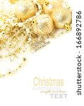 golden balls for christmas with ... | Shutterstock . vector #166892786