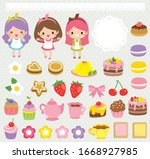 cute food clipart set with... | Shutterstock . vector #1668927985