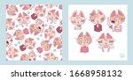 seamless pattern with cartoon... | Shutterstock .eps vector #1668958132