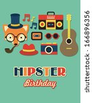hipster birthday card. vector... | Shutterstock .eps vector #166896356