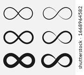 set of infinity symbol black... | Shutterstock .eps vector #1668964582